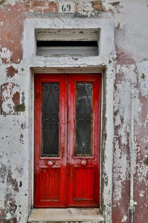 Red Doorway Old Building Burano, Italy by Darrell Gulin
