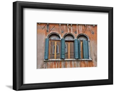 Shuttered Windows in Green, Venice, Italy