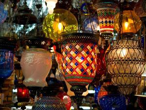 Stained Glass Lamp Vendor in Spice Market, Istanbul, Turkey by Darrell Gulin