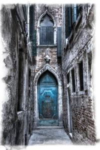 Venice, Italy. Carnival, Colorful Old Blue Doorway in Narrow Alley by Darrell Gulin
