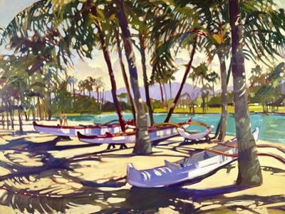Three Canoes and Palm Shadows