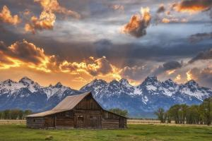 Moulton barn sunset fire by Darren White Photography