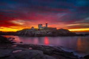 Sunrise over Nubble Light by Darren White Photography