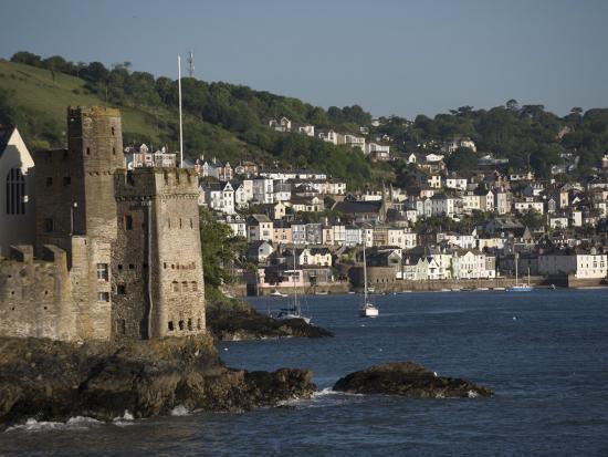 Dartmouth Castle at the Mouth of River Dart, Dartmouth in Background-Keenpress-Photographic Print