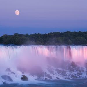 Usa, New York, Moon over American Falls at Dusk by Darwin Wiggett
