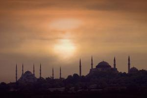 Turkey, Istanbul, Blue Mosque and Hagia Sophia, Sunset by Daryl Benson