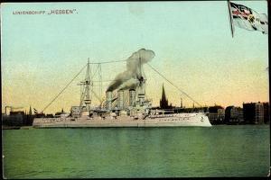 Das Deutsche Linienschiff Hessen in Hafen, Fahne