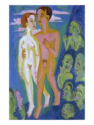 Das Paar Vor Den Menschen-Ernst Ludwig Kirchner-Giclee Print