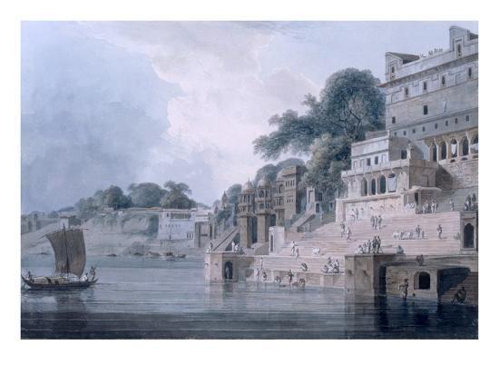 Dasasvamedha Ghat, Benares, Uttar Pradesh, C.1788-89 (Coloured Aquatint)-Thomas Daniell-Giclee Print