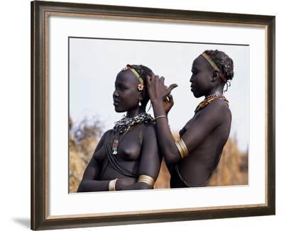 Dassanech Girl Braids Her Sister's Hair at Her Village in the Omo Delta-John Warburton-lee-Framed Photographic Print