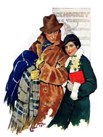"""""""Date at Hockey Game,""""March 12, 1932-Ellen Pyle-Giclee Print"""