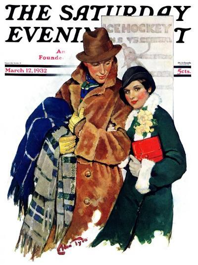 """Date at Hockey Game,"" Saturday Evening Post Cover, March 12, 1932-Ellen Pyle-Giclee Print"