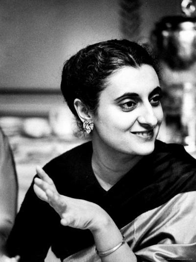 Daughter of Indian Pm Jawaharlal Nehru, Indira Gandhi, During Visit with Father to Us and Canada-Carl Mydans-Premium Photographic Print