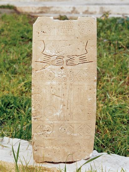 Daunian Civilization, Figured Stele or Smenhir, from Siponto, Apulia Region, Italy--Giclee Print