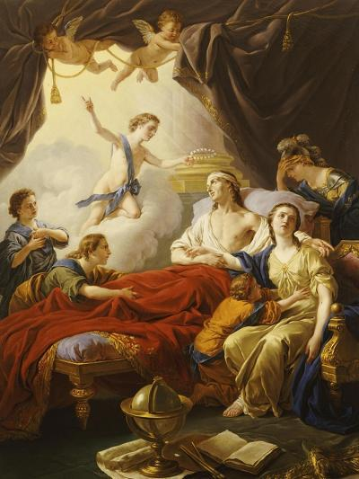 Dauphin the Royal Highness Dying and Duc Who Presents the Crown of Immortality-Jean-francois Lagrenee-Giclee Print