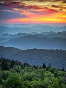 Blue Ridge Parkway Scenic Landscape Appalachian Mountains Ridges Sunset Layers over Great Smoky Mou by Dave Allen Photography