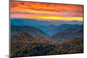 North Carolina Blue Ridge Parkway Mountains Sunset Scenic Landscape near Asheville, NC during the A by Dave Allen Photography