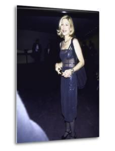 Actress Tatum O'Neal in See-Through Navy Blue Dress by Dave Allocca
