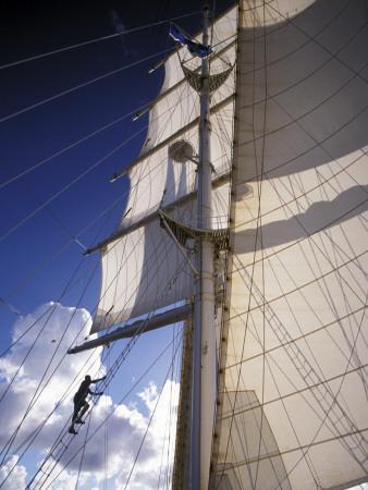 Crew Member Climbing Mast of the Star Clipper, Caribbean