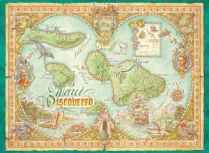 Maui Discovered, Vintage Map of Maui, Hawaii by Dave Stevenson