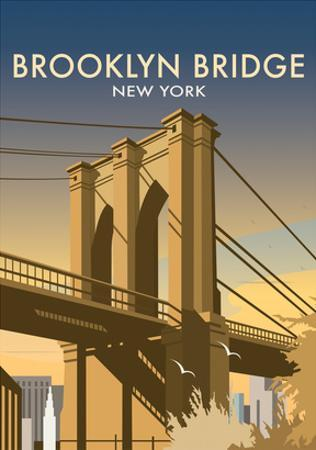 Brooklyn Bridge - Dave Thompson Contemporary Travel Print by Dave Thompson
