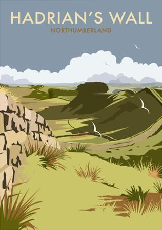 Hadrians Wall - Dave Thompson Contemporary Travel Print by Dave Thompson