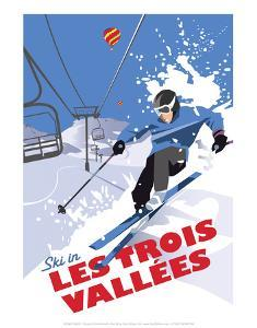 Les Trois Vallees - Dave Thompson Contemporary Travel Print by Dave Thompson
