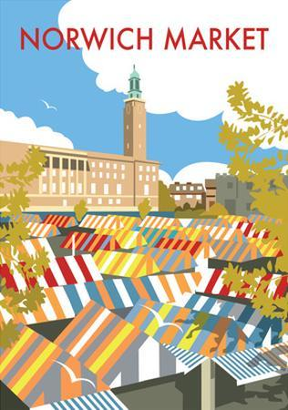 Norwich Market - Dave Thompson Contemporary Travel Print by Dave Thompson