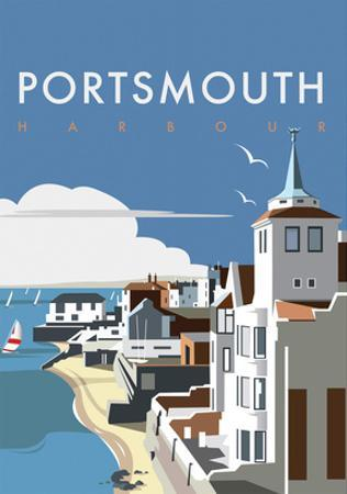 Portsmouth - Dave Thompson Contemporary Travel Print by Dave Thompson