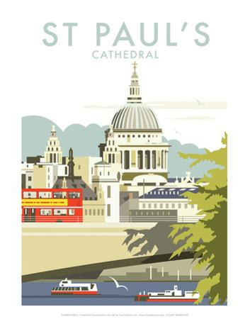 St Pauls Cathedral - Dave Thompson Contemporary Travel Print by Dave Thompson