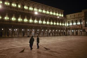 City Workers Sweep Piazza San Marco in Venice Before Dawn by Dave Yoder