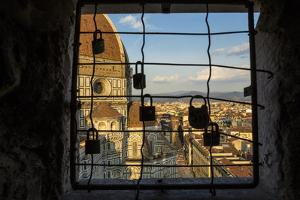 Love Locks on a Fence on Window in Giotto's Bell Tower by Dave Yoder