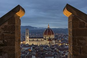 The Palazzo Vecchio Tower Frames Florence's Duomo, the Basilica Di Santa Maria Del Fiore by Dave Yoder