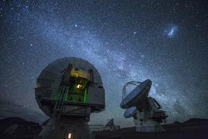 Three of the Giant Dishes Forming the Atacama Large Millimeter/Submillimeter Array, Alma by Dave Yoder