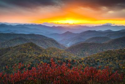 Blue Ridge Parkway Autumn Mountains Sunset Western Nc Scenic Landscape by daveallenphoto