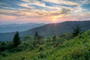 Mountains Sunset Landscape on Blue Ridge Parkway Evening by daveallenphoto