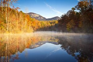 South Carolina Autumn Sunrise Landscape Table Rock Fall Foliage Reflections by daveallenphoto