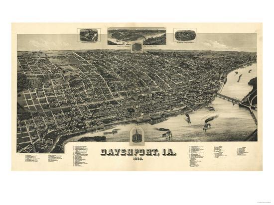 Davenport, Iowa - Panoramic Map-Lantern Press-Art Print