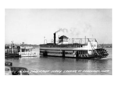 Davenport, Iowa - Rock Island-Davenport Ferry Landing-Lantern Press-Art Print