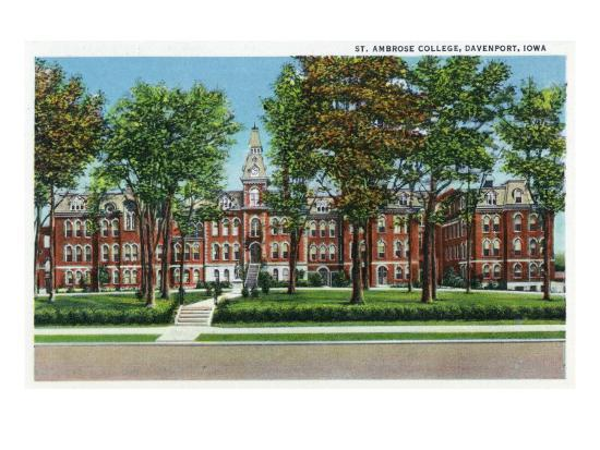 Davenport, Iowa, View of St. Ambrose College-Lantern Press-Art Print