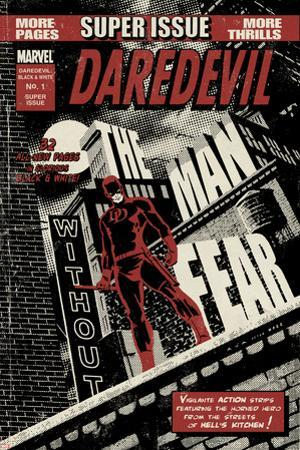 Daredevil Black & White No.1 Cover: Daredevil Standing on a Rooftop