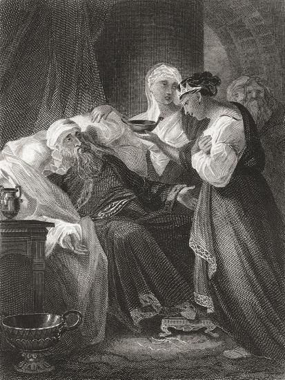 David and Bathsheba, from a 19th Century Print--Giclee Print