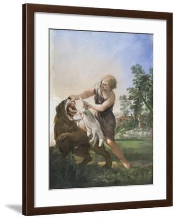 David and the Lion, Unknown Date, Pietro Berrettini Da Cortona, 1597-1669--Framed Giclee Print