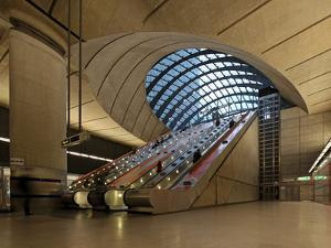 London Canary Wharf Tube Station as Part of the Jubilee Line Extension Was Designed by Norman Foste by David Bank