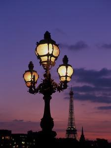 Europe, France, Paris. Eiffel Tower and light post, (Med. Format) by David Barnes