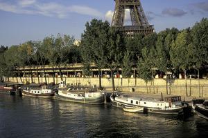 Europe, France, Paris, Eiffel Tower, Seine, barges by David Barnes