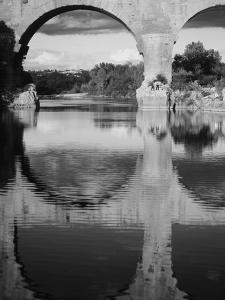 View of Pont Du Gard Bridge, Gardon River, Languedoc, France by David Barnes