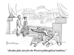 """""""Another false start for the Western philosophical tradition."""" - New Yorker Cartoon by David Borchart"""