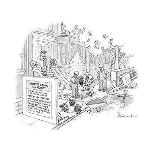 Construction workers repot plants after backing into Mrs. Beverly Seidel's... - New Yorker Cartoon by David Borchart