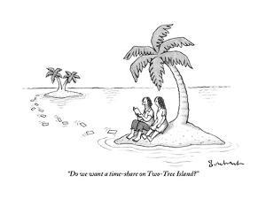 """""""Do we want a time-share on Two-Tree Island?"""" - New Yorker Cartoon by David Borchart"""